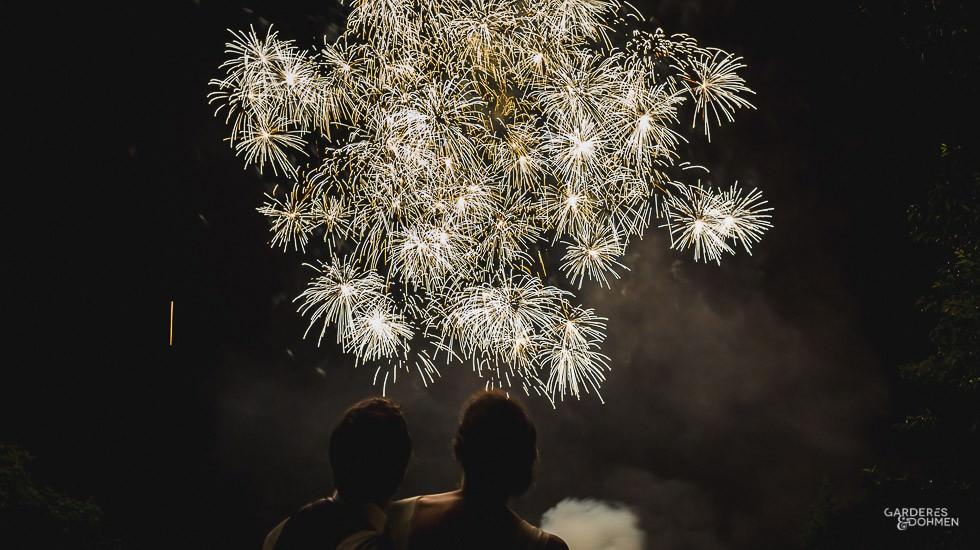 feu d'artifice lors d'un mariage au Pays-Basque