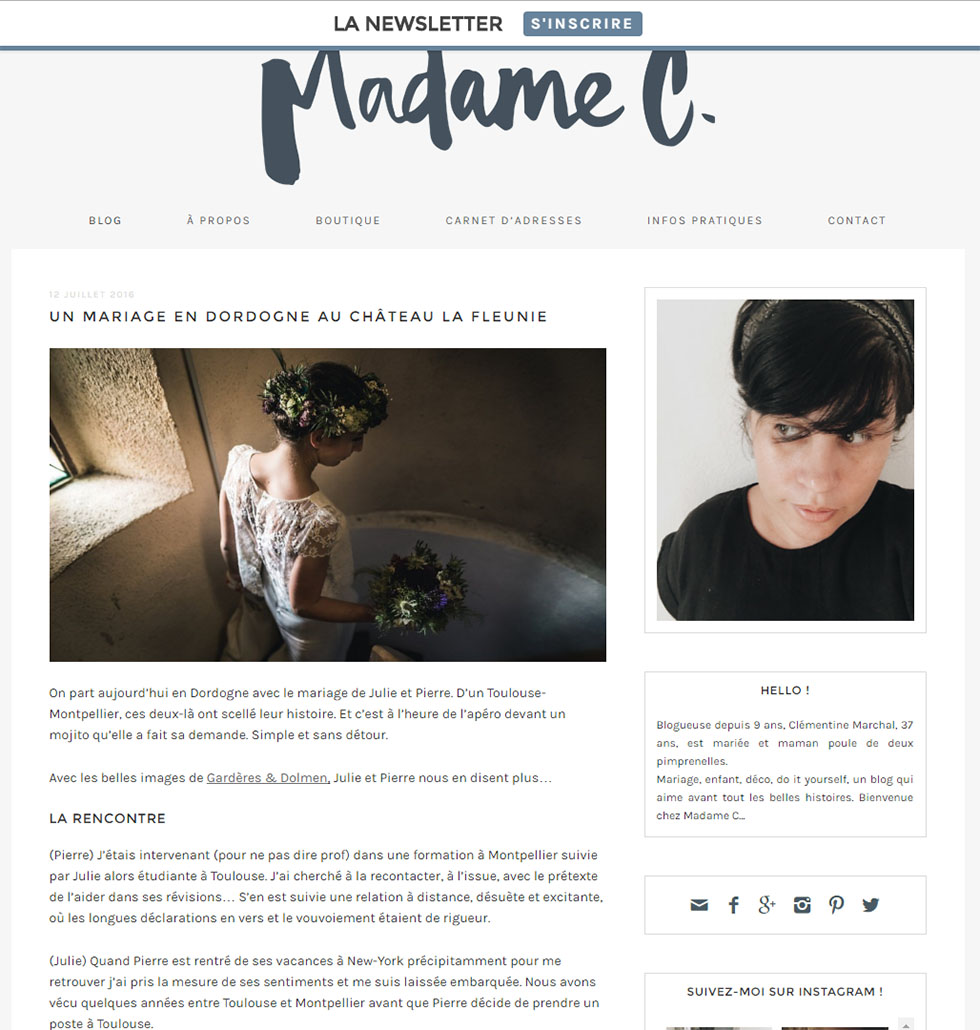 Publication sur le Blog de Madame C, wedding blog