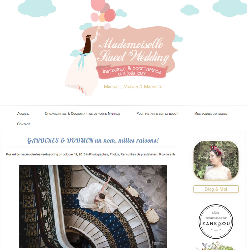 publication sur Mademoiselle Sweet Wedding